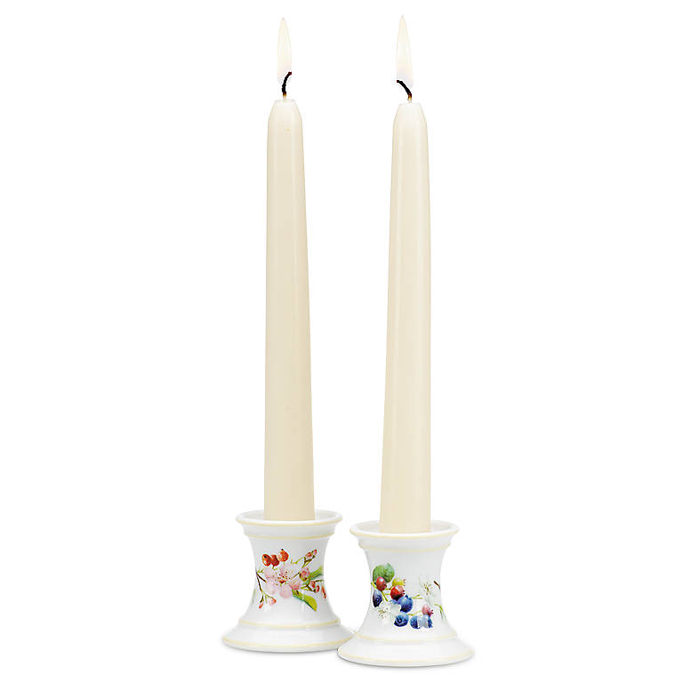 Porcelain Orchard in Bloom Candlestick Pair with Tapers by Lenox, Home Decorating Candles by Lenox