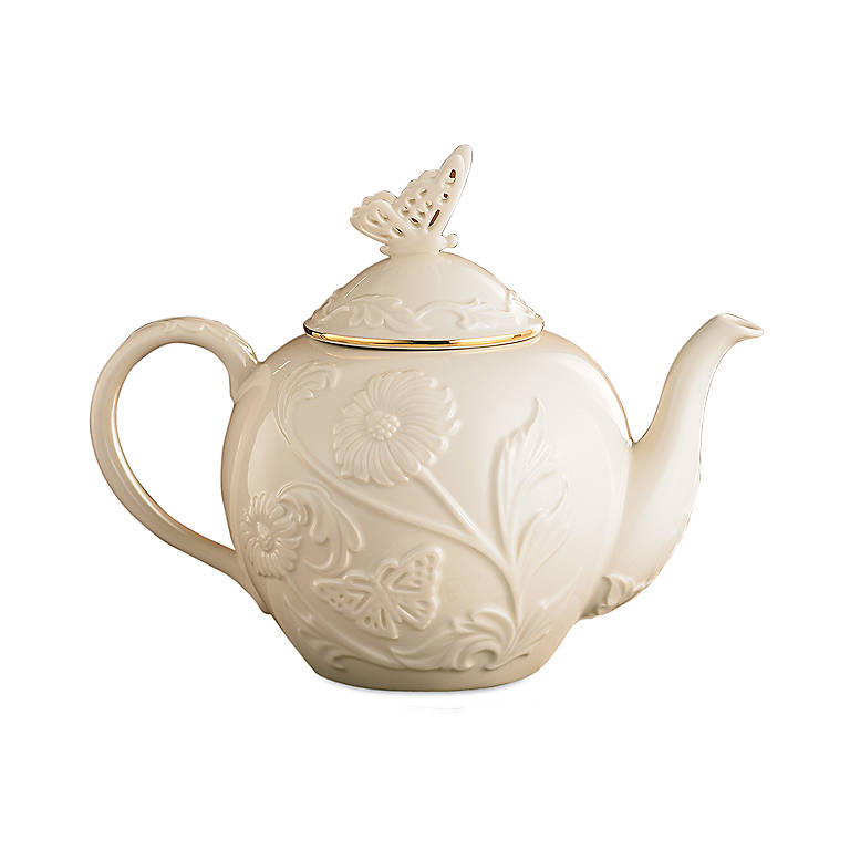 Ivory China Lenox Butterflies & Lace Teapot, Dinnerware Serving Pieces Teapots by Lenox