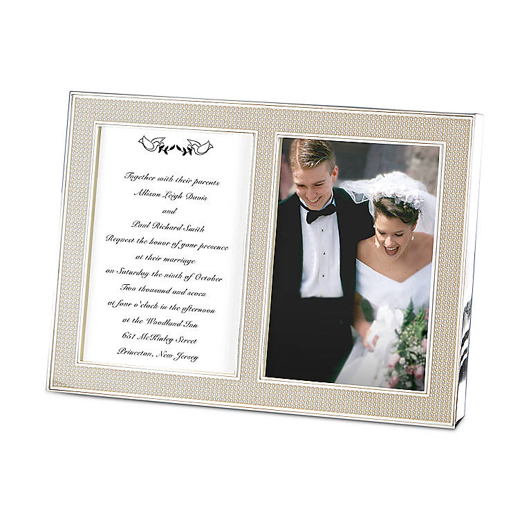 Metal Jubilee Pearl Double Invitation Frame by Lenox, Home Decorating Picture Frames by Lenox