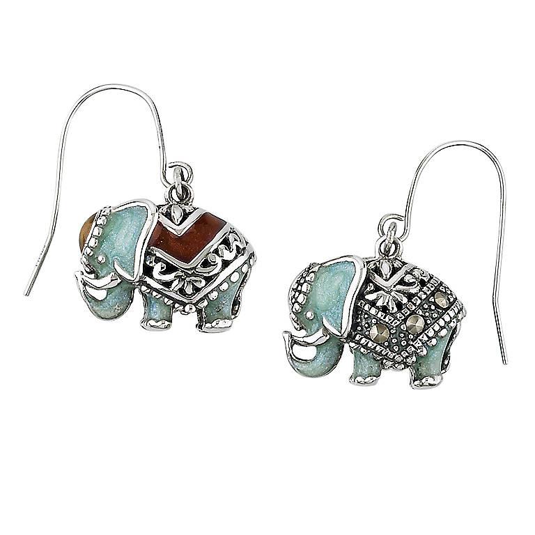 Sterling Silver Lenox Double Luck Elephant Earrings, Pierced, Costume Jewelry by Lenox