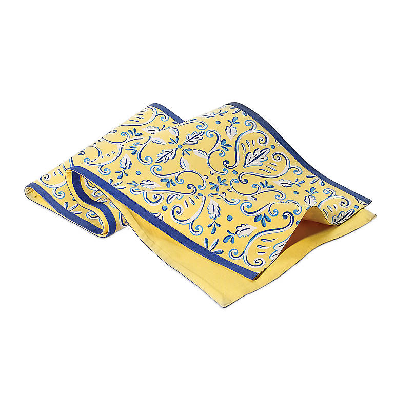 Department 56 Yellow Print Table Runner, Dinnerware Linens by Lenox
