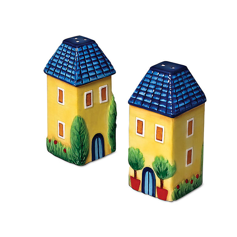 Ceramic Department 56 Yellow House Salt & Pepper Set, Dinnerware Serving Pieces Salt and Pepper Shakers by Lenox