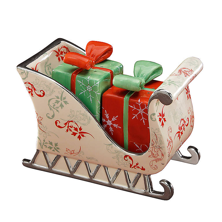 Ceramic Department 56 Salt & Pepper Gift Boxes in Sleigh, Dinnerware Serving Pieces Salt and Pepper Shakers by Lenox