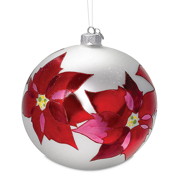 Glass Poinsettia Glass Ball Ornament, Gifts by Occasion Christmas by Lenox