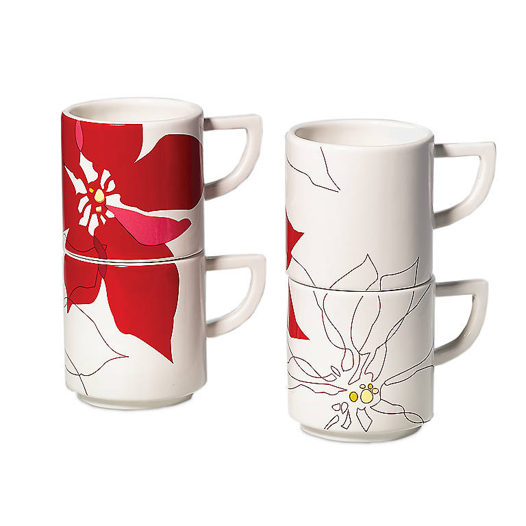 Ceramic Stackable Cups, Set of 4, Gifts by Occasion Christmas by Lenox