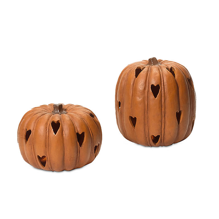 Ceramic Cut-out Heart Pumpkins, Set of 2, Gifts by Occasion Halloween by Lenox