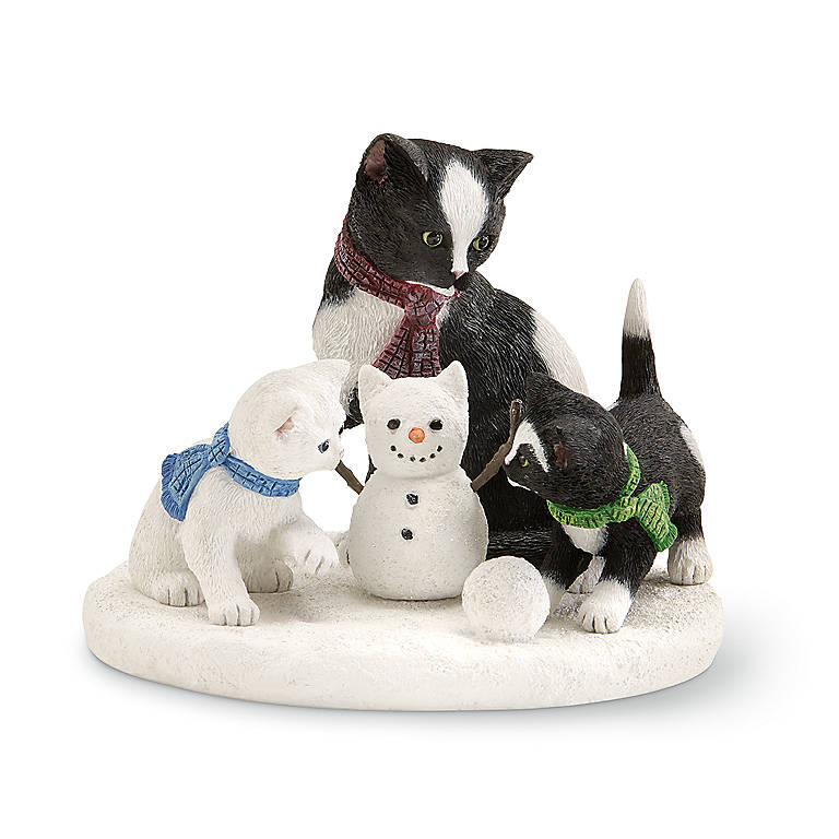 Resin Snowball Cat by Lenox, Sculpture by Lenox
