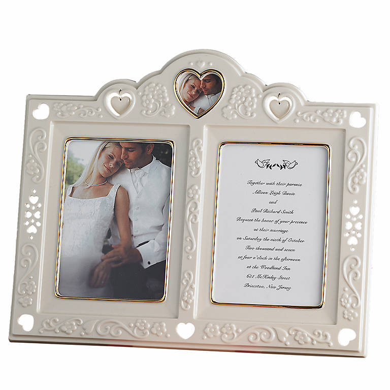 Porcelain Floating Hearts Invitation Frame by Lenox, Home Decorating Picture Frames by Lenox
