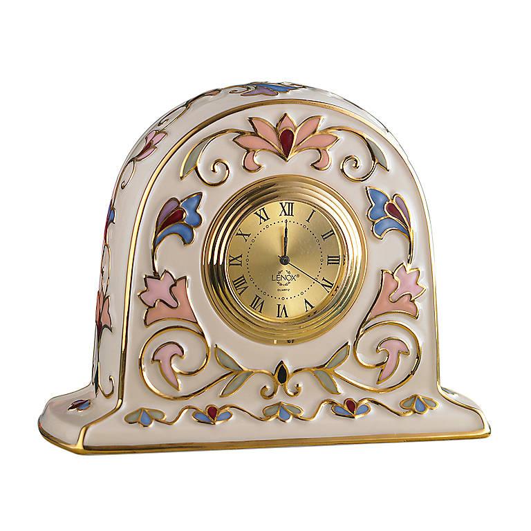 Porcelain Lenox Gilded Garden Clock, Home Decorating Clocks by Lenox