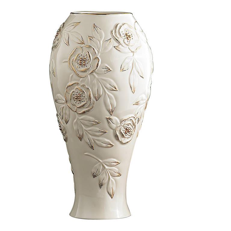 Porcelain Lenox Golden Roses Large Vase, Home Decorating Vases by Lenox