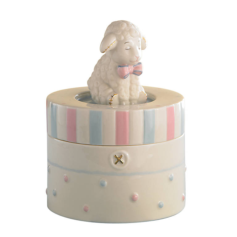 Porcelain Lenox Lazy Lambs Music Box, Home Decorating Music Boxes by Lenox