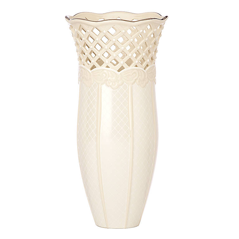 Ivory China Lenox Venetian Lace Large Vase, Home Decorating Vases by Lenox