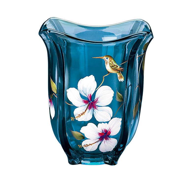 Decorated Glass Fenton Indigo Vase with Hummingbird and Hibiscus, Home Decorating Vases by Lenox