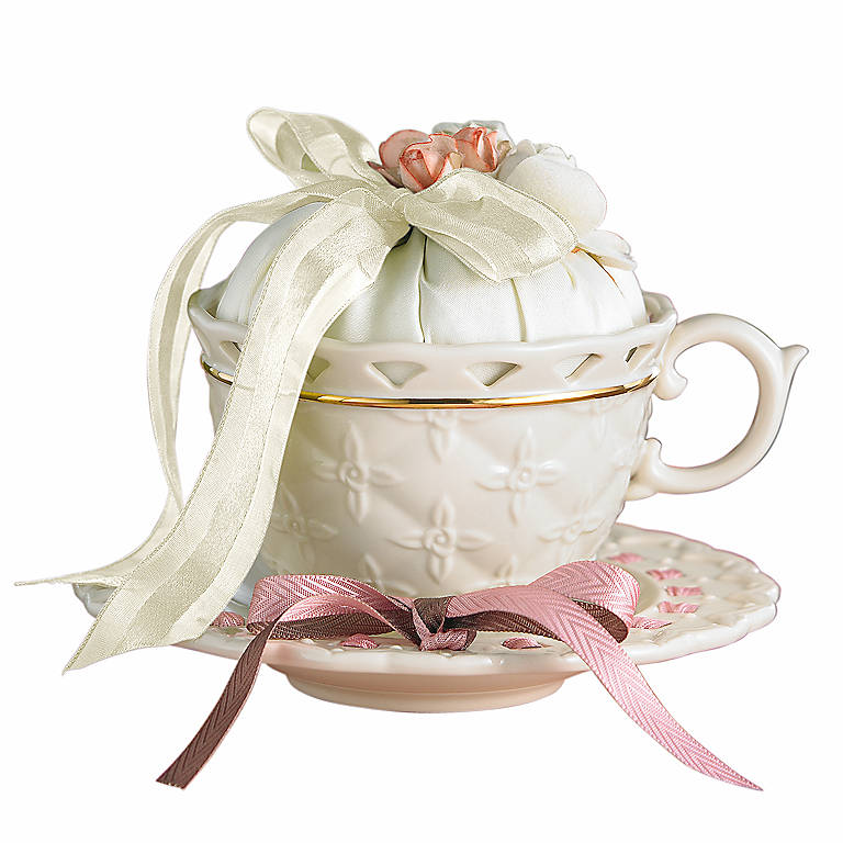 Tied with Love Tahlia Teacup with Scented Sachet by Lenox, Gifts by Occasion Anniversary by Lenox