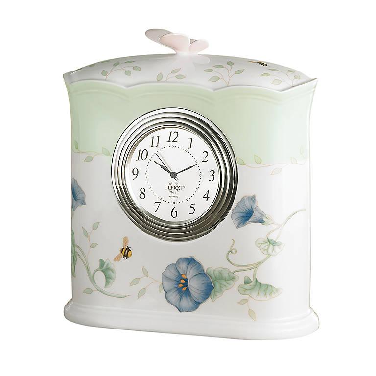 Porcelain Lenox Butterfly Meadow Desk Clock, Home Decorating Clocks by Lenox