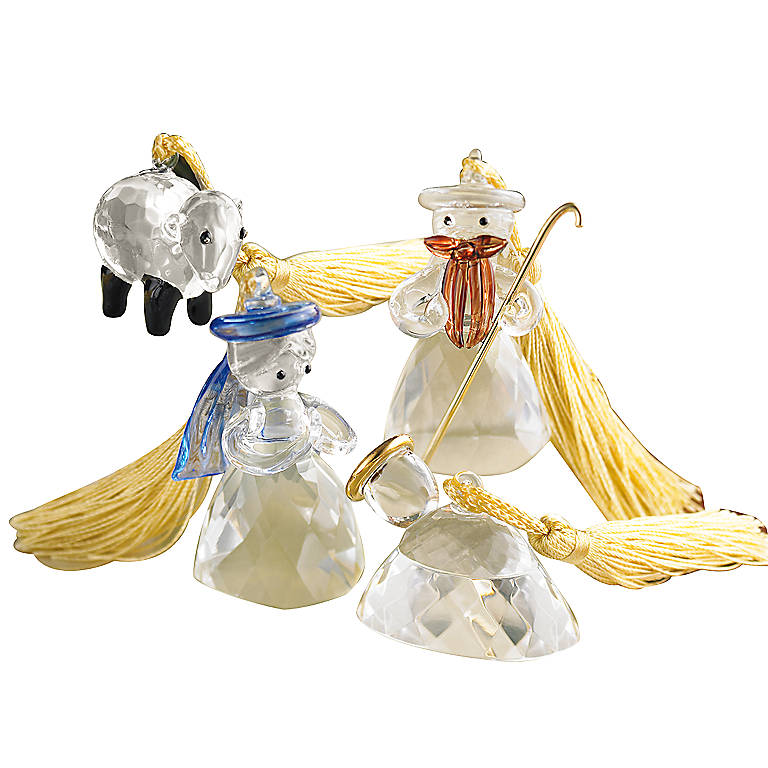 Crystal Lenox Crystalline Nativity Ornaments, Set of 4, Gifts by Occasion Christmas by Lenox