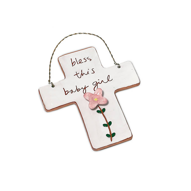 Ceramic Garden Large Cross Baby Girl, Gifts by Occasion New Baby by Lenox