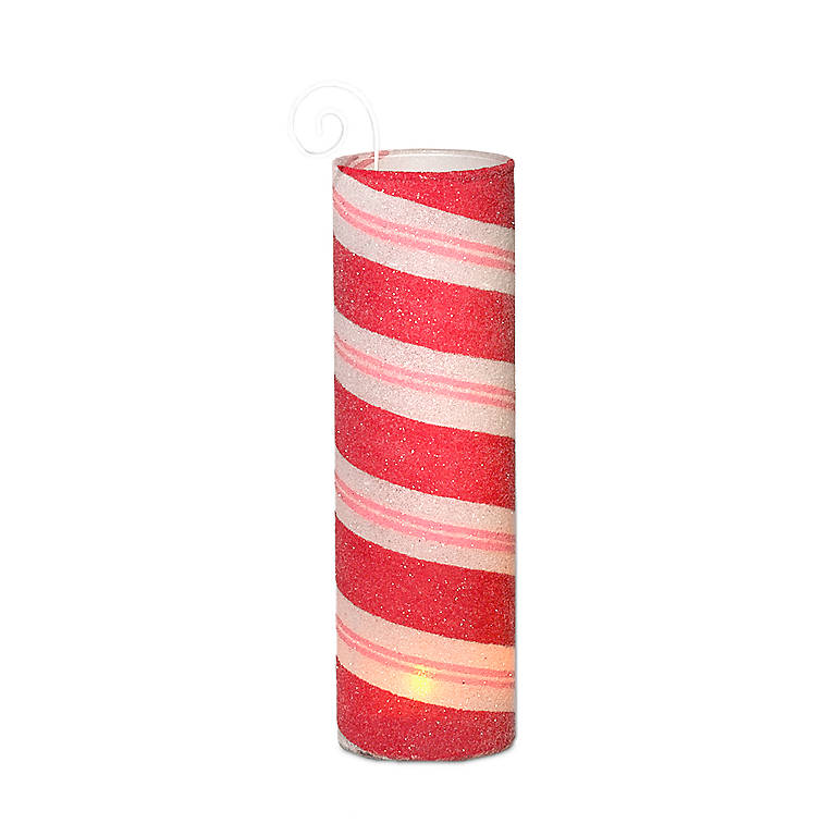 Peppermint Hurricane Votive Holder - Red, Home Decorating Candles by Lenox