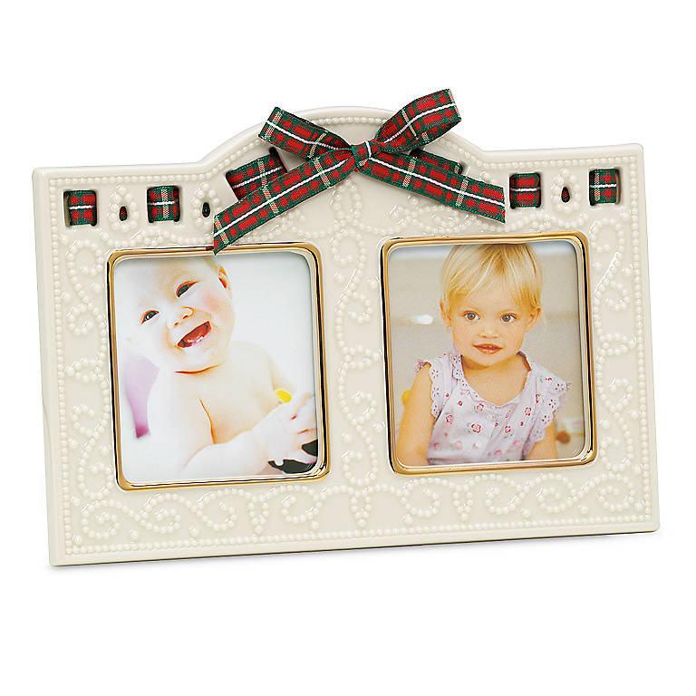 Porcelain Christmas Giftables Double Frame by Lenox, Home Decorating Picture Frames by Lenox