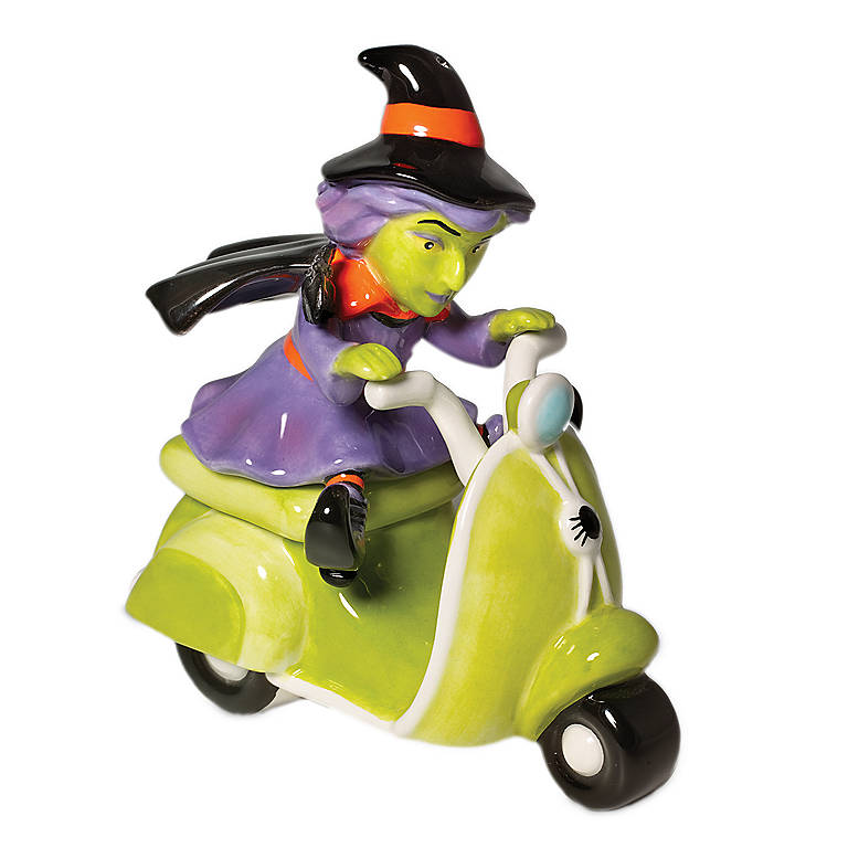 Ceramic Department 56 Witch on Scooter Salt & Pepper Set, Dinnerware Serving Pieces Salt and Pepper Shakers by Lenox