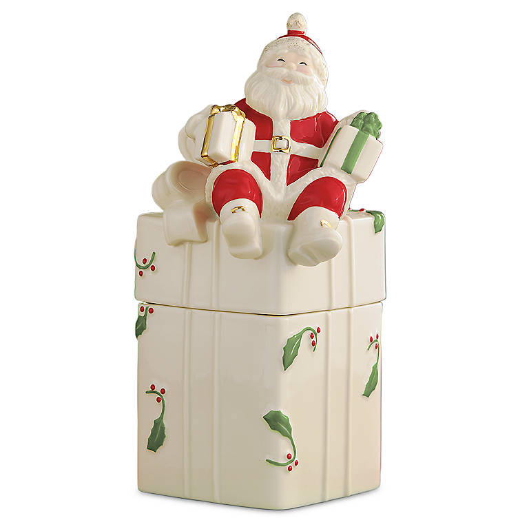 Ivory China Merry Musicals Santa Box by Lenox, Home Decorating Music Boxes by Lenox
