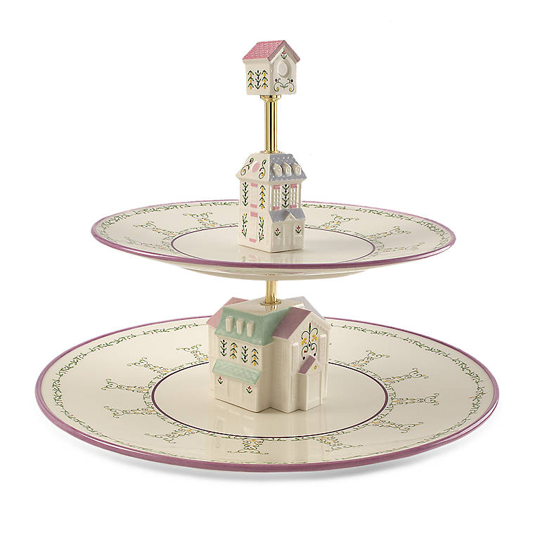 Porcelain Lenox Village Tiered Server, Home Decorating by Lenox