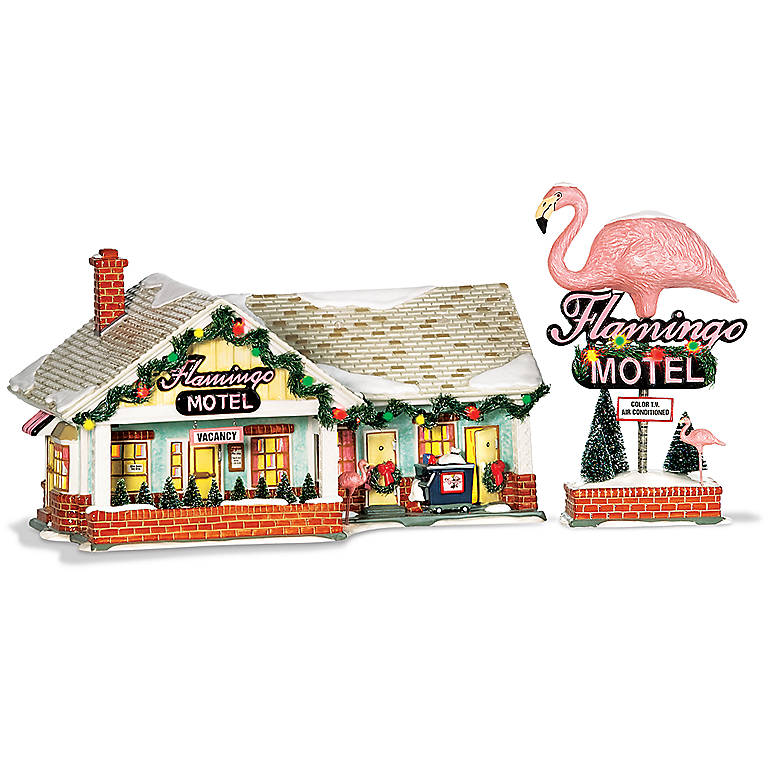 Ceramic Department 56 The Original Snow Village The Flamingo Motel, Set of 2, Sculpture by Lenox