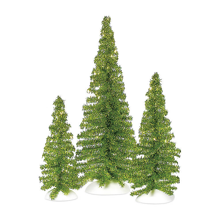 Department 56 'Classic Tinsel Trees' Bright Green, Set of 3, Gifts by Occasion Christmas by Lenox