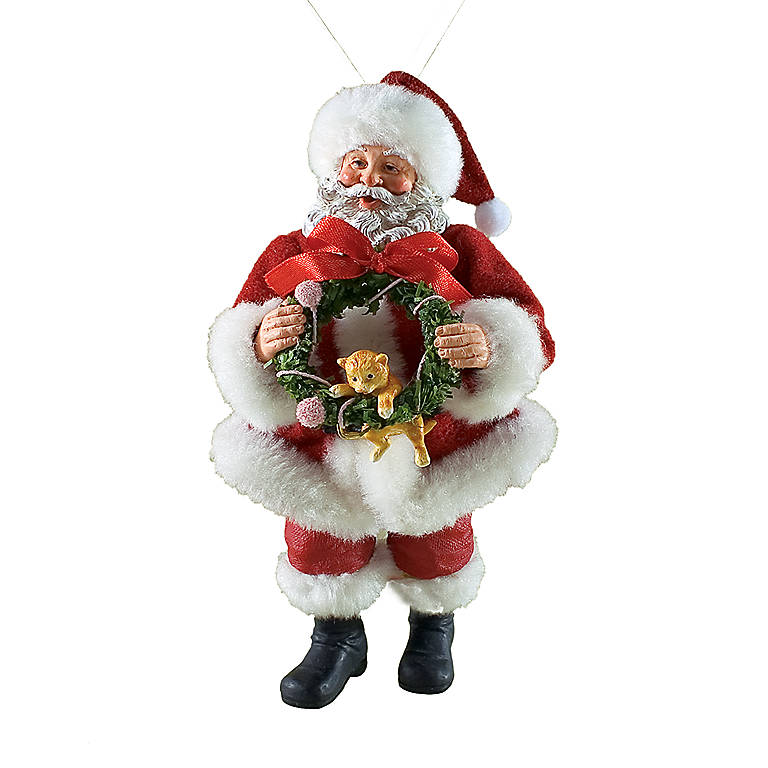 Possible Dreams Kitty's Christmas Santa Figure, Sculpture by Lenox