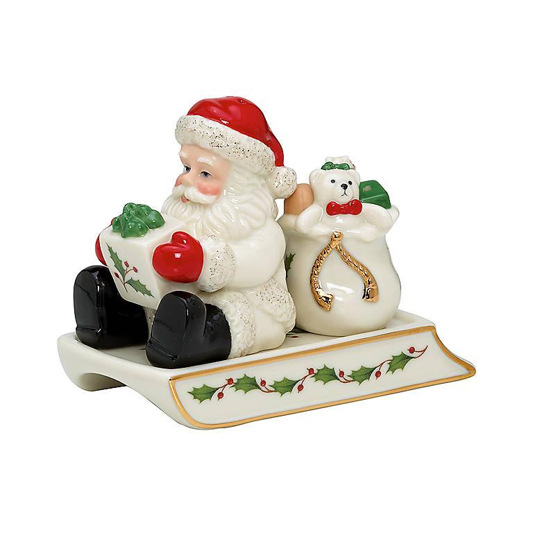 Ceramic Santa & Sleigh Salt & Pepper Set by Lenox, Dinnerware Serving Pieces Salt and Pepper Shakers by Lenox