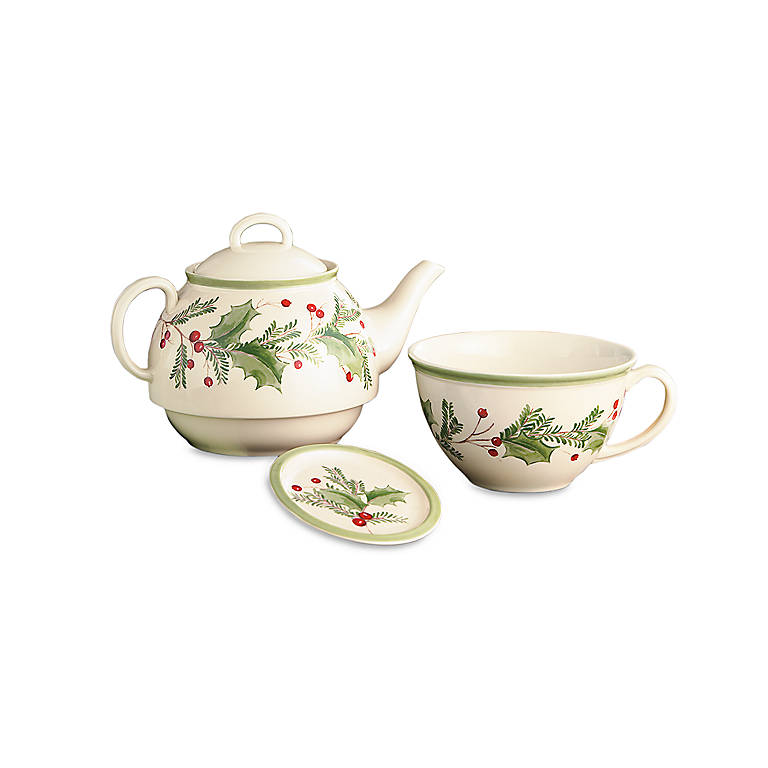 Ironstone Lenox Holiday Gatherings Stackable Tea Set, Dinnerware Serving Pieces Teapots by Lenox