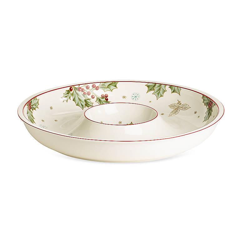 Porcelain Treasured Traditions Chip 'n' Dip by Lenox, Dinnerware Serving Pieces Chip 'n' Dip by Lenox