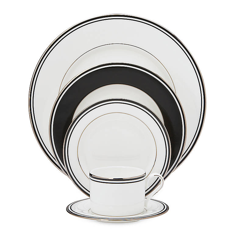 Bone China Federal Platinum Black 5-piece Place Setting by Lenox, Dinnerware Tableware Dishes and China by Lenox