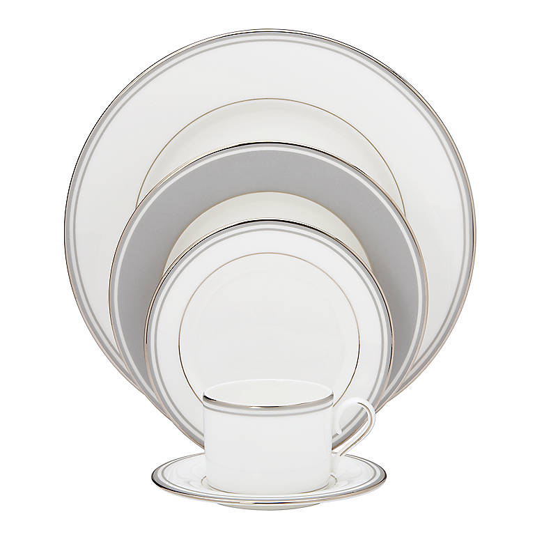 Bone China Federal Platinum Slate 5-piece Place Setting by Lenox, Dinnerware Tableware Dishes and China by Lenox