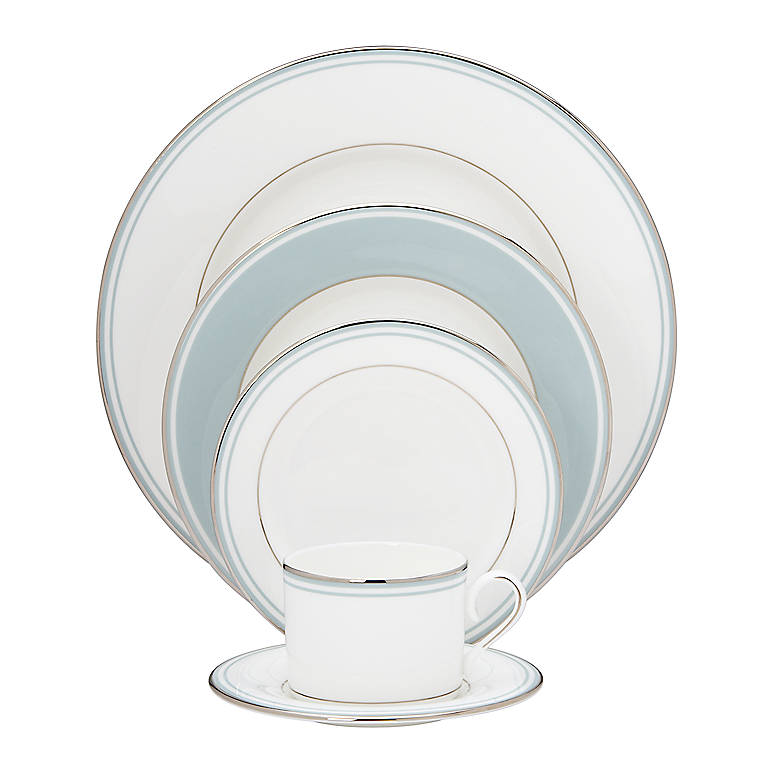 Bone China Federal Platinum Blue 5-piece Place Setting by Lenox, Dinnerware Tableware Dishes and China by Lenox