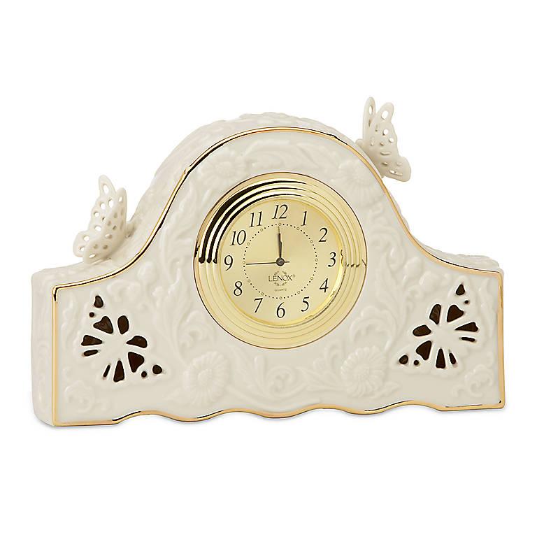 Porcelain Lenox Butterflies & Lace Clock, Home Decorating Clocks by Lenox