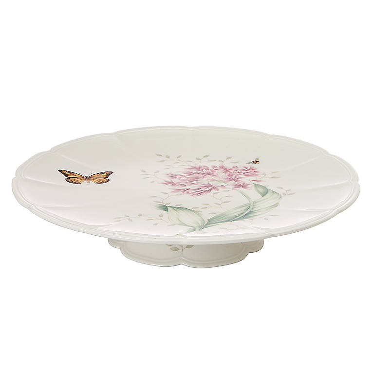 Porcelain Lenox Butterfly Meadow Footed Cake Plate, Dinnerware Serving Pieces Cake Plates by Lenox