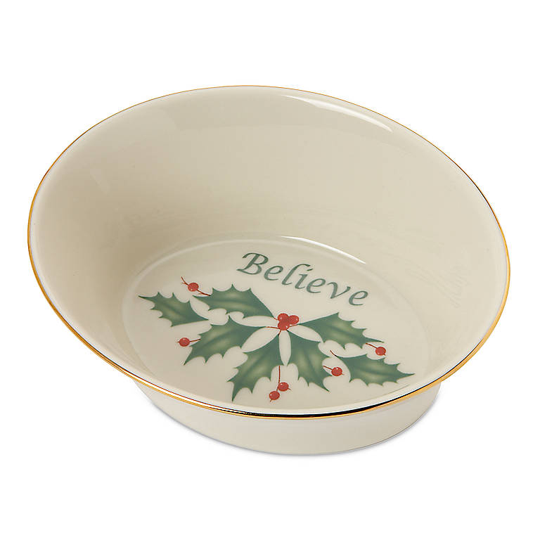 Ivory China Holiday Sentiment Dish by Lenox - Believe, Dinnerware Serving Pieces by Lenox