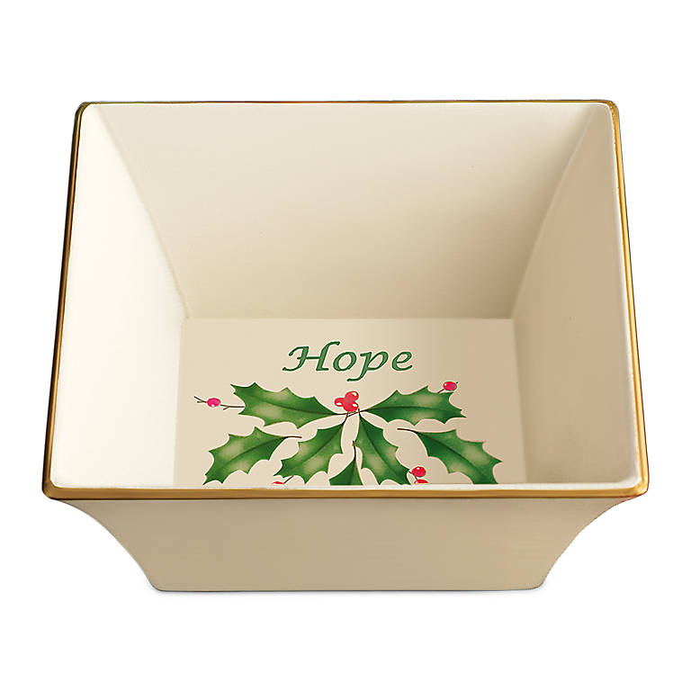 Porcelain Lenox Holiday Square Hope Dish, Dinnerware Serving Pieces Serving Bowls by Lenox