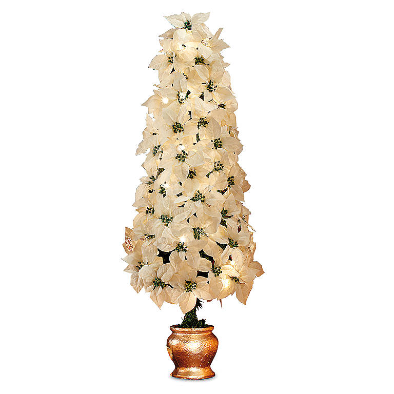 Resin White Poinsettia Tree, Gifts by Occasion Christmas by Lenox