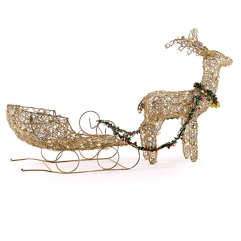 Metal Lighted Reindeer & Sleigh, Sculpture by Lenox