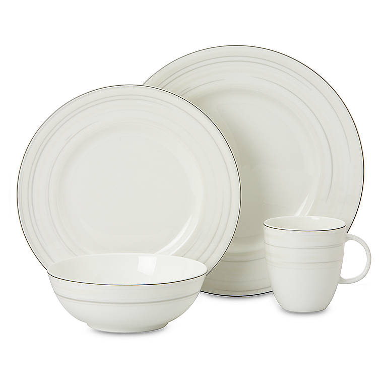 Bone China Simply Fine Lenox Glimmer 4-piece Place Setting, Dinnerware Tableware Dishes and China by Lenox