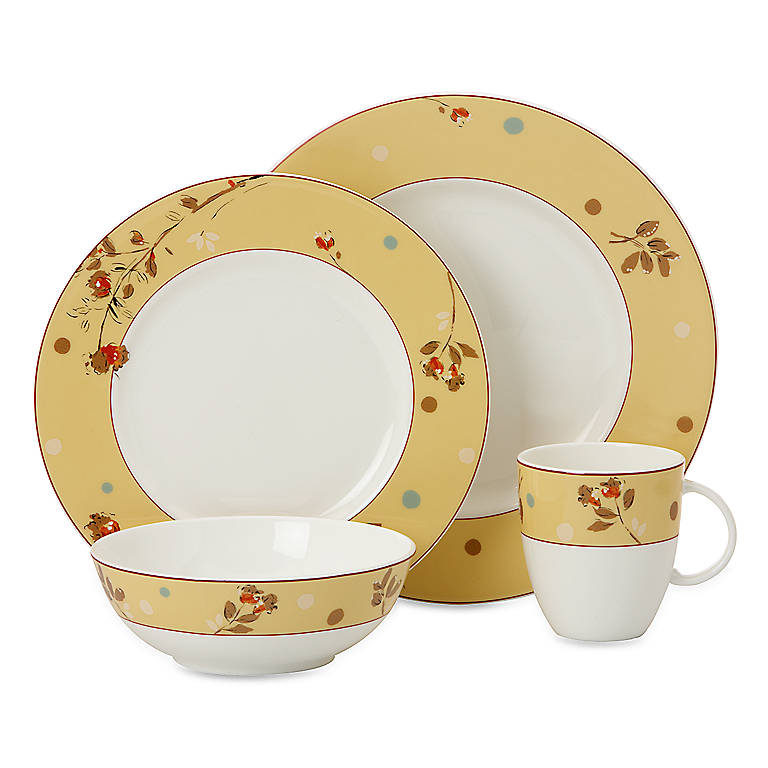 Bone China Simply Fine Lenox Canary 4-piece Place Setting, Dinnerware Tableware Dishes and China by Lenox
