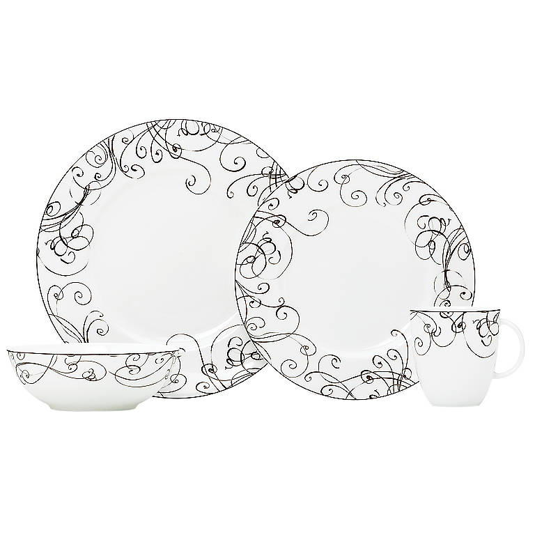 Bone China Simply Fine Lenox Chocolate 4-piece Place Setting, Dinnerware Tableware Dishes and China by Lenox