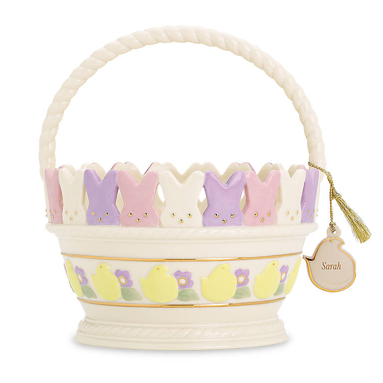 Ivory China Personalized PEEPS Basket with Charm by Lenox, Home Decorating Baskets by Lenox