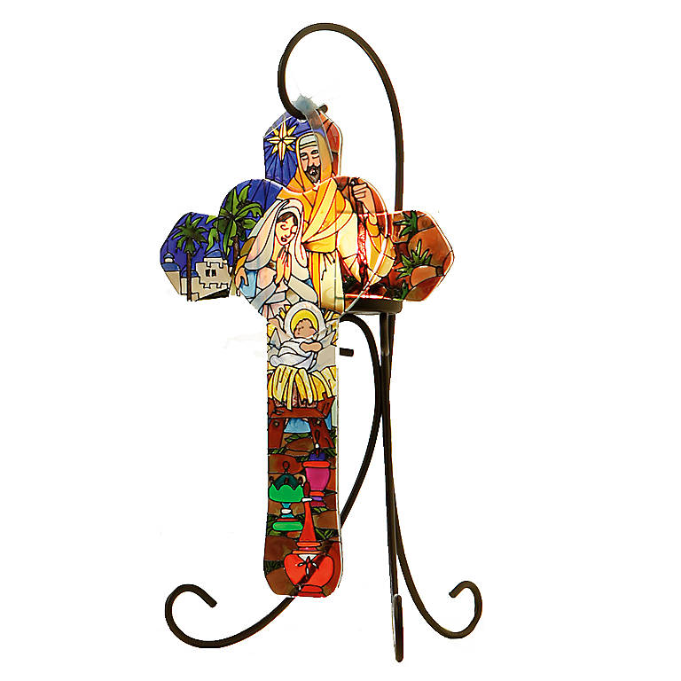 Decorated Glass Joan Baker Holy Family Cross with Stand, Gifts by Occasion by Lenox