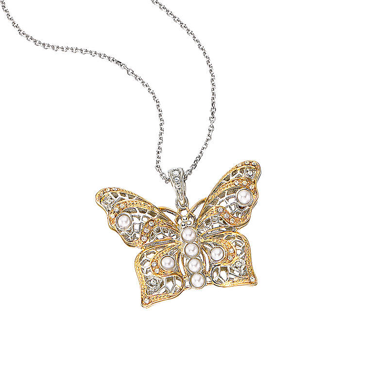 Sterling Silver Double Luck Butterfly Pendant by Lenox, Costume Jewelry by Lenox