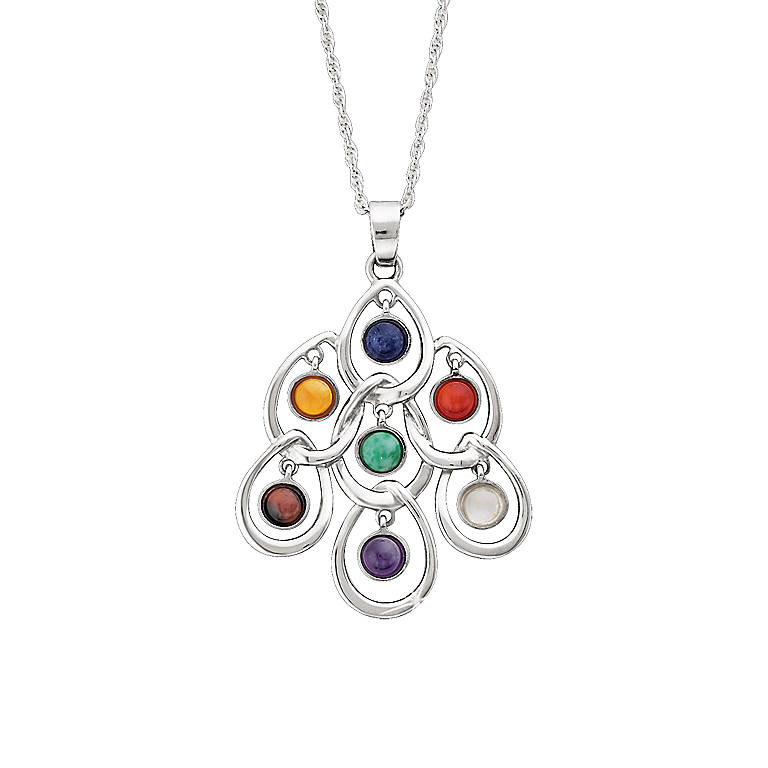 Sterling Silver Seven Stones of Enlightenment Pendant by Lenox, Costume Jewelry by Lenox