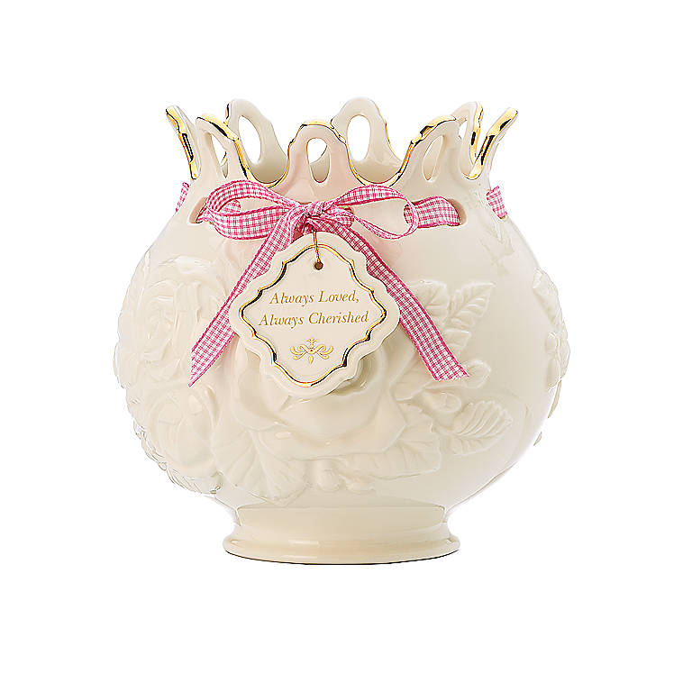 Porcelain Love Notes Cherished Rose Bowl Vase by Lenox, Home Decorating Vases by Lenox