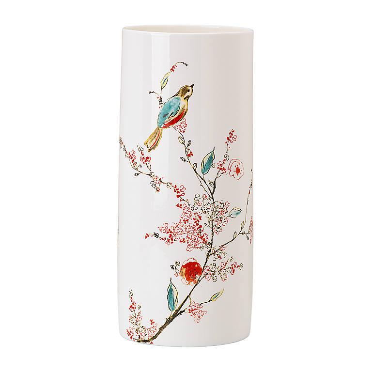 Bone China Simply Fine Lenox Chirp Large Cylinder Vase/Pillar Candleholder, Home Decorating Vases by Lenox